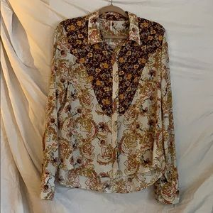 Free People Floral Button Up Shirt